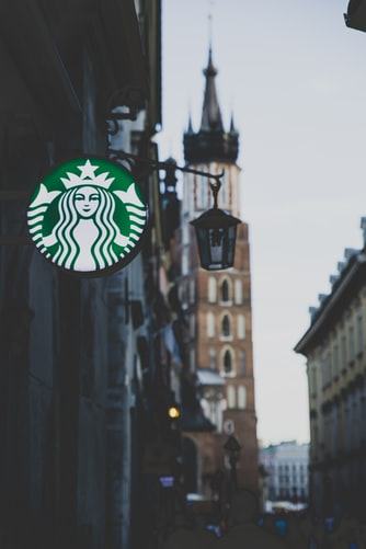 Starbucks sign in city